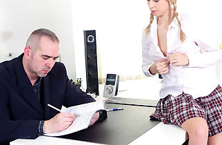 Insane student seduces her teacher..